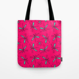 Mint Dragonflys On Hot Pink Back Tote Bag