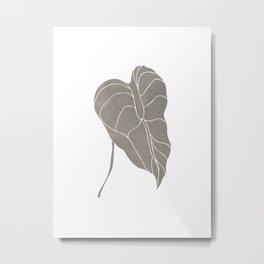 Leaf Dusty Grey 0.1 Metal Print