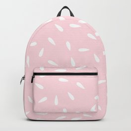 White Raindrops on Pastel Pink Background Backpack