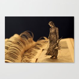 Perhaps I shall find out somebody's secret! Book sculpture. Canvas Print