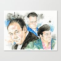 sopranos Canvas Prints featuring The Sopranos - Tony, Paulie & Silvio by Drumond Art