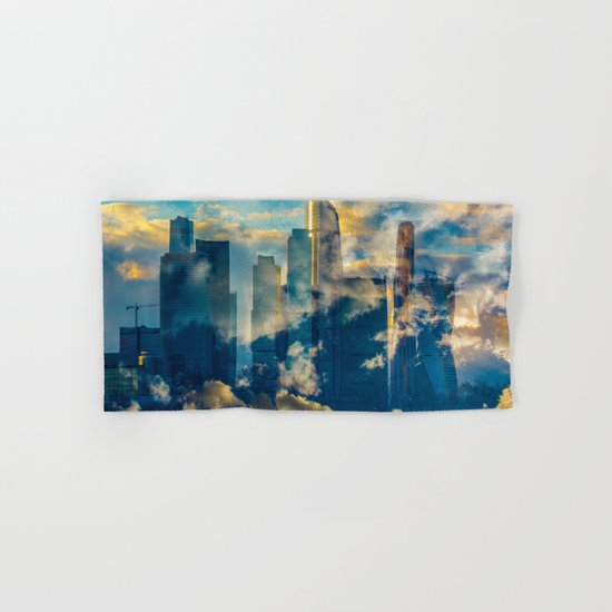 skyscrapers in the clouds Hand & Bath Towel
