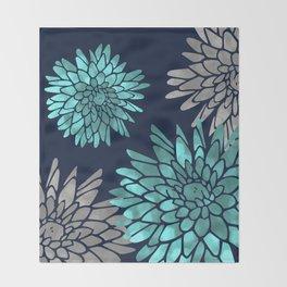 Floral Chrysanthemum Modern Navy Aqua Throw Blanket