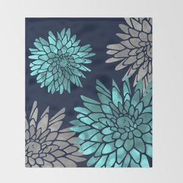 Floral Chrysanthemum Modern Navy Aqua Throw Blanket