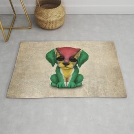 Cute Puppy Dog with flag of Guyana Rug