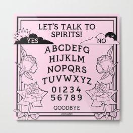 Let's Talk To Spirits | Pastel Pink Black Summoning Board Game Metal Print