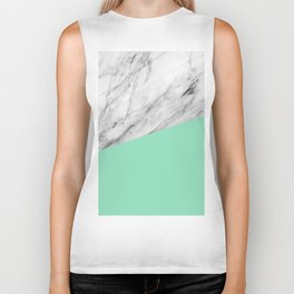 Carrara Marble and Sea Color Biker Tank