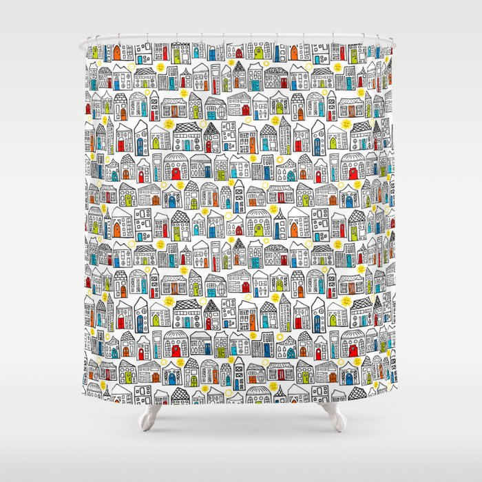 Happy Day in the City // Home Sweet Home in Quirky Neighborhood with Bright Smiling Sun Shower Curtain