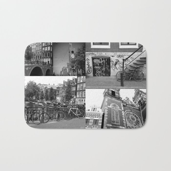 Photo collage Amsterdam 4 in black and white Bath Mat