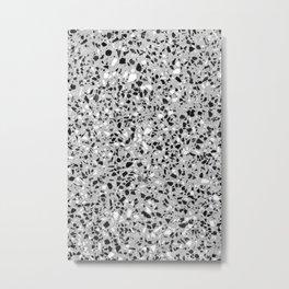 Black White Grey Monochrome Terrazzo Pattern Stone Speckles Effect Metal Print