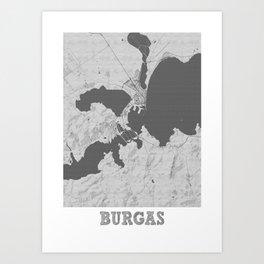 Burgas Pencil City Map Art Print