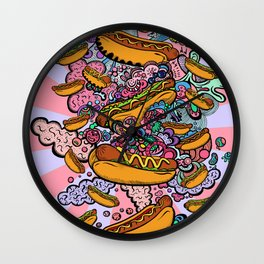 Hot dogs attack Wall Clock