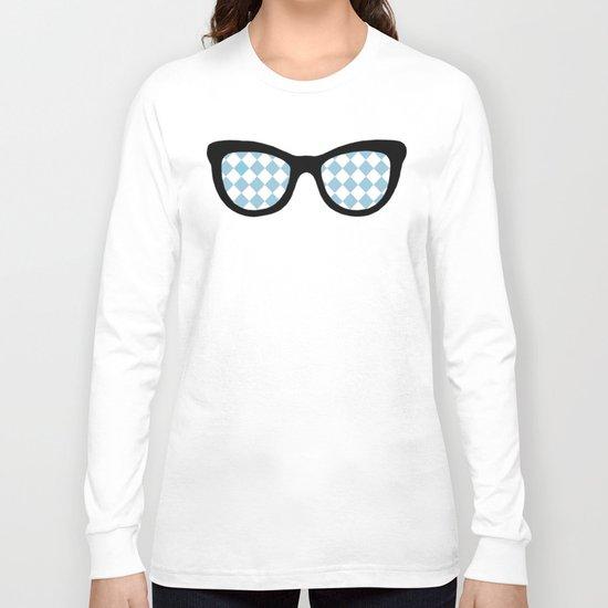Diamond Eyes on Blue Long Sleeve T-shirt