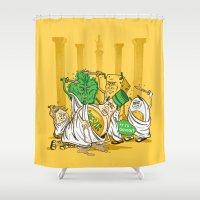 et Shower Curtains featuring Et Tu, Crouton? by Ben Douglass
