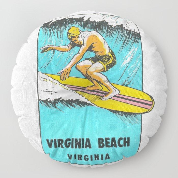 Virginia Beach Retro Vintage Surfer Floor Pillow