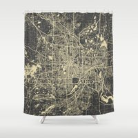 minneapolis Shower Curtains featuring Minneapolis Map by Map Map Maps
