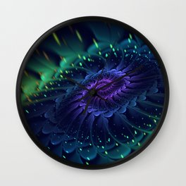 Psychedelic Fractal Bloom Wall Clock