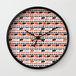 Red and Black Abstract Stripes Cryptic Shapes Wall Clock