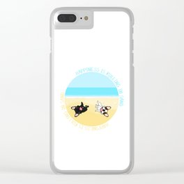 Frenchies Rolling In The Sand Clear iPhone Case