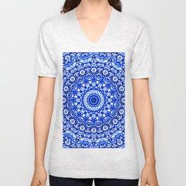 Blue Mandala Mehndi Style G403 Unisex V-Neck
