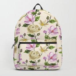 Elegant ivory pink lavender country floral pattern Backpack