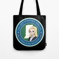 parks and rec Tote Bags featuring Parks & Rec. by BlackRose Designs