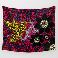 hummingbird Wall Tapestries featuring hummingbird  by North 10 Creations