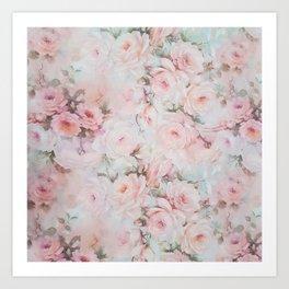 Vintage romantic blush pink teal bohemian roses floral Art Print