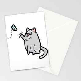 Fat Cat Trying to Get Butterfly Stationery Cards