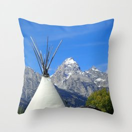 Tipi with snow capped mountains Throw Pillow