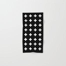 Swiss Cross Black Hand & Bath Towel