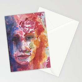 bright painted girl Stationery Cards