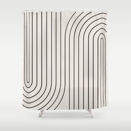 Minimal Line Curvature - Black and White I Shower Curtain