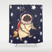 interstellar Shower Curtains featuring Interstellar by Lixxie Berry Illustration