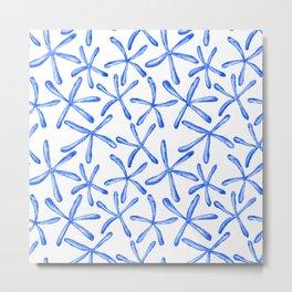 Blue starfish watercolor design Metal Print