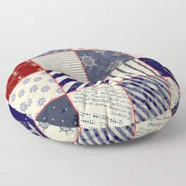Patchwork Quilt Neck Gator Red and Blue Nautical Patchwork Floor Pillow