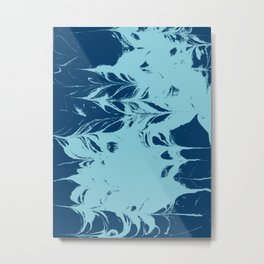 Marble blue 4 Suminagashi watercolor pattern art pisces water wave ocean minimal design Metal Print