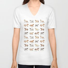 Horses - different colours and markings illustration Unisex V-Neck