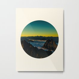 Yellow & Teal Turquoise Ombre Sunrise over Mountain Range Metal Print