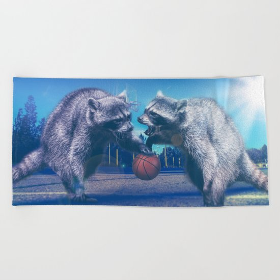 Racoon Basketball Game Beach Towel