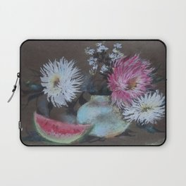 Asters and Watermelon Slice. Bouquet. Still-Life Laptop Sleeve
