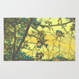 Blossoms Abstract Yellow Rug
