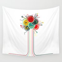 knitting Wall Tapestries featuring Knitting Yarn Balls and Needles by Popmarleo