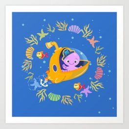 Under the sea with Captain Octo Art Print