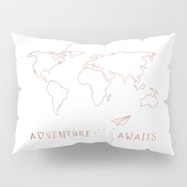 Adventure Map in Rose Gold Pillow Sham