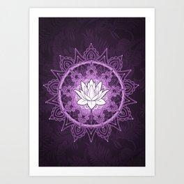 Purple Lotus Flower Mandala Art Print