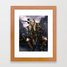 Fantasy Nordic Ranger Woman Framed Art Print