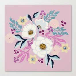 Naturally Beautiful Lavender White Flower Bouquet Canvas Print