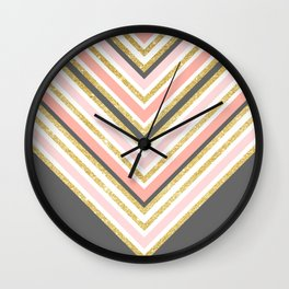 Stylish boho gray pink coral gold faux glitter chevron Wall Clock