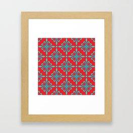 Fleur de Lis - Red & Turquoise Framed Art Print
